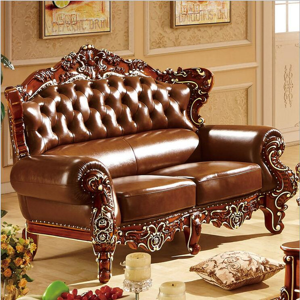new arrival hot selling high quality European antique living room sofa furniture genuine leather set p10303