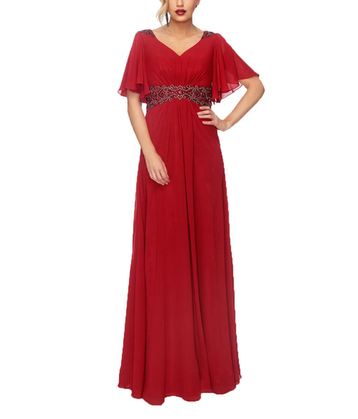 2019 Red Chiffon V-neck A-line Evening Dress Half Sleeves Pleated Beaded Floor Length Bridesmaid Formal Dress For Women