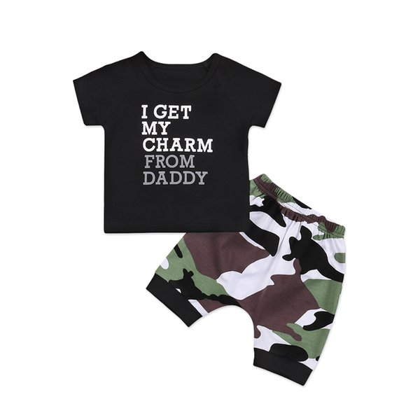 New Casual Toddler Kids Baby Boy Clothes Set Short Sleeve O-Neck T Shirt Top + Camo Pants Shorts Clothes 2pcs Outfits