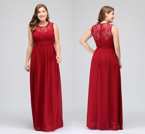 Plus Size Dark Crimson Bridesmaid Dresses Long Chiffon A-Line Formal Dresses Plus Size Special Occasion Dresses Party Gowns