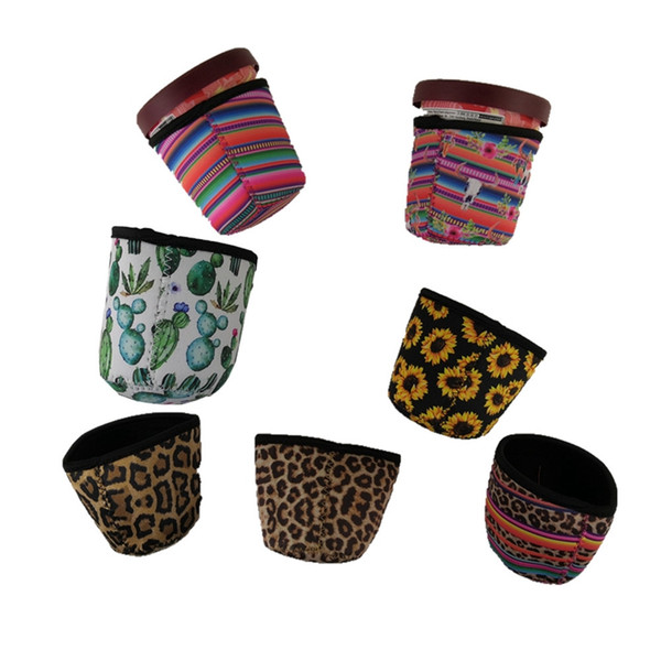 top popular Ice Cream Holder Case Tools Neoprene Ice Cream Cover Leopard Print Sunflower Can Cooler Covers Cactus Lolly Bags 2021