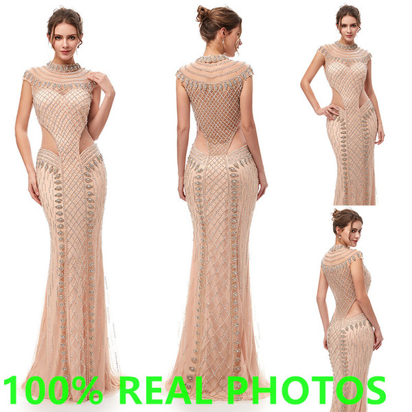 2019 Luxury Champagne mermaid Evening Dresses high neck full Beading crystal sheer backless Party Pageant Gowns Arabic Celebrity Prom Gown