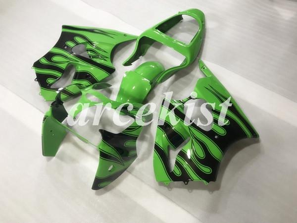 4 regalos gratis Nuevos ABS llena de la motocicleta carenados Fit Kits para Kawasaki Ninja ZX-6R ZX6R 636 2000 2001 2002 00 01 02 Verde personalizada