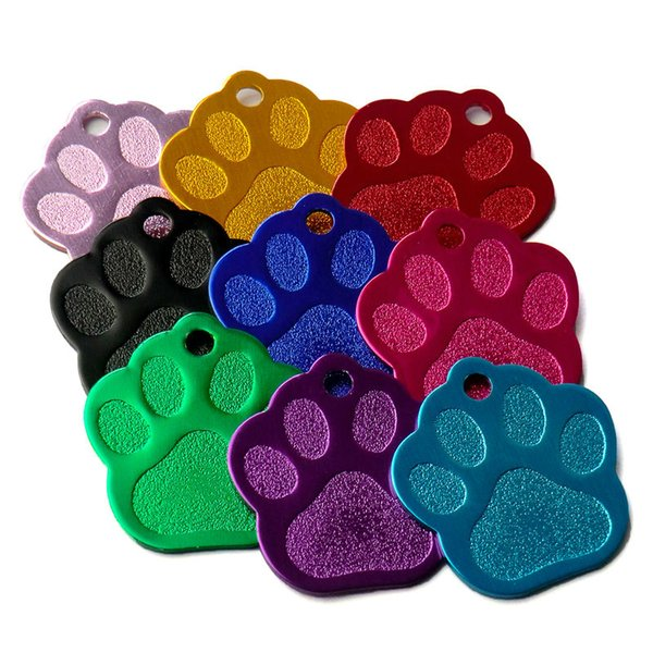 Cheap Tags Wholesale 100Pcs 3D Exquisite PAW Shape Pet Dog ID Tags Custom Engraved Name Phone No. Cat Dog ID Tag