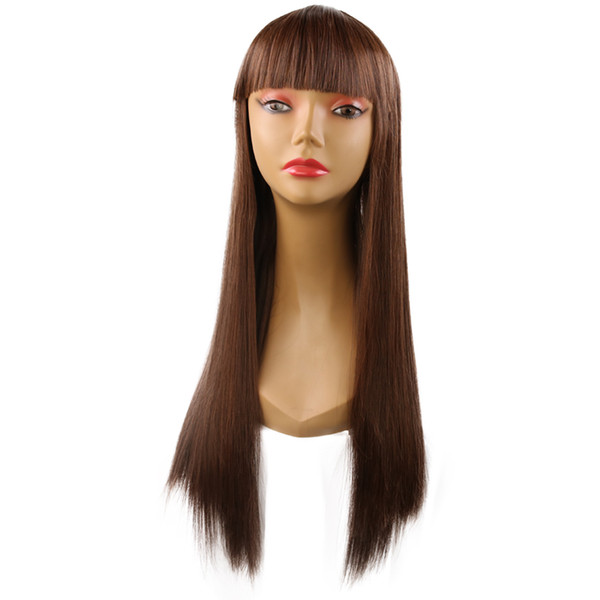 Hot selling women long hair wig 24 inch black straight wigs for Salon/Cosplay/ Halloween festival 100% synthetic hair with weaving cap