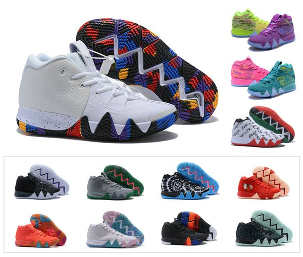 online retailer 77b51 364d4 Hot New Boys Youth Kyrie IV 4 4S Multi Color Irving IV High Kids Trainers  Zoom Girls Women Basketball Shoes Elite Mid Sport Sneakers 36 40 Basketball  ...