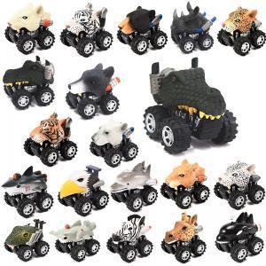 Forma de cabeza de animal Modelo de Coche Mini Pull Back Vehículo de dibujos animados Juguete animal en forma de plástico Wind UP Car Toy TTA153