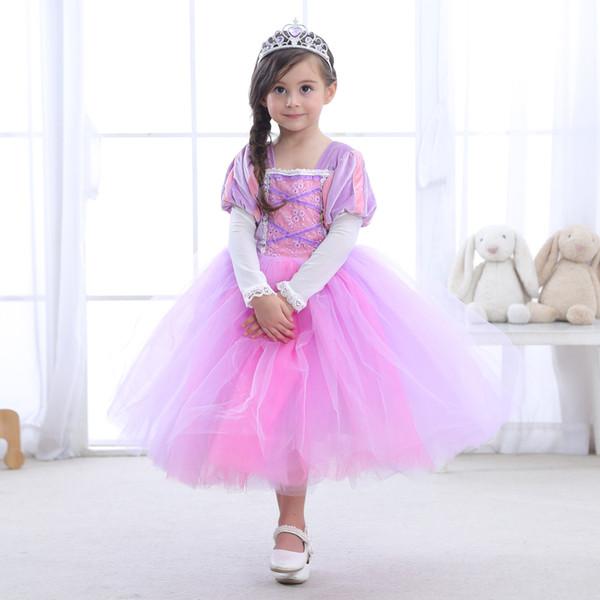 2019 Детская одежда Длинные волосы принцессы платье Sophia платье юбки одевают одежду производительности Хэллоуин