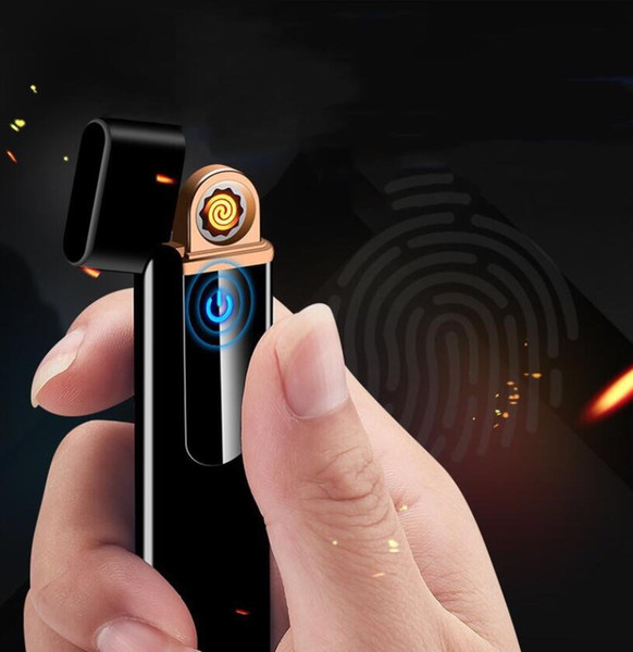 New thin Lighter USB Chargeable Electronic Windproof Smooth Touch Metal Cigarette lighter for Man Women Smoking Accessories Free Shipping