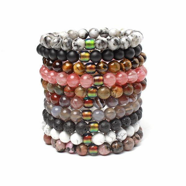 top popular Black Lava Volcanic stone 7 Chakra Bracelet Natural Stone Yoga Bracelet Healing Reiki Prayer Balance Buddha Beads Bracelet mix color 2020