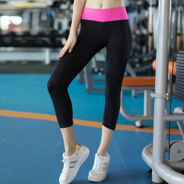 2018 Hot Yoga Pants Women Running Gym Leggings Girls Sport Medias 3/4 Compression Sport Pantalones Gym Black Brand New Yoga Pants # 297624