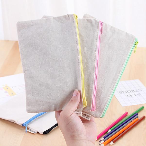 21x9 cm DIY Lienzo Blanco en blanco liso con cremallera Lápiz pluma bolsas de papelería embrague organizador bolsa Regalo bolsa de almacenamiento