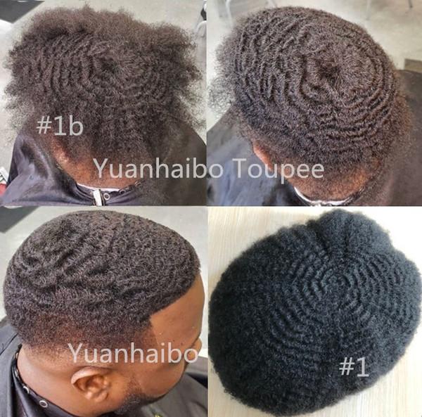 Encaje Bisoñes 6mm Afro completa pelo indio de la Virgen del pelo humano del enrollamiento afro hombres peluca afro rizado rizado Toupee de Negro hombres libera el envío