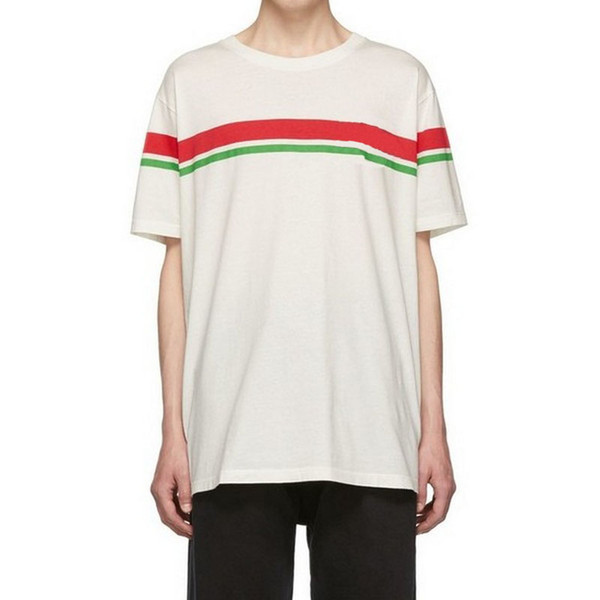 19SS İtalya'da Yapılan Renk Eşleştirme Çizgili Tee Erkek Kadın Yaz T-shirt Rahat Sokak Kaykay Hip Hop Kısa Kollu Tee HFYMTX595