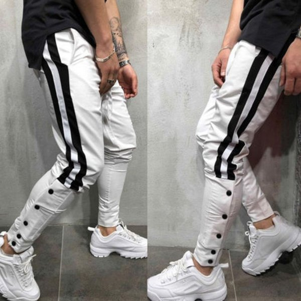 Plus Size Hip Hop Calças Homens Listra Moletom Street Wear Skinny Corredores Dos Homens Cintura Elástica Calças Casuais Masculinos 3XL