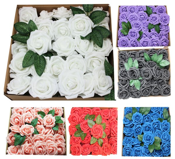 50 Pieces DIY Real Touch 3D Foam Rose Without Stem for Wedding Party Home Decor