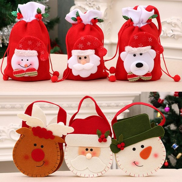 2019 Merry Christmas Decoration Santa Claus Promotional Kids Gift Wine Apple Candy Christmas Drawstring Bags