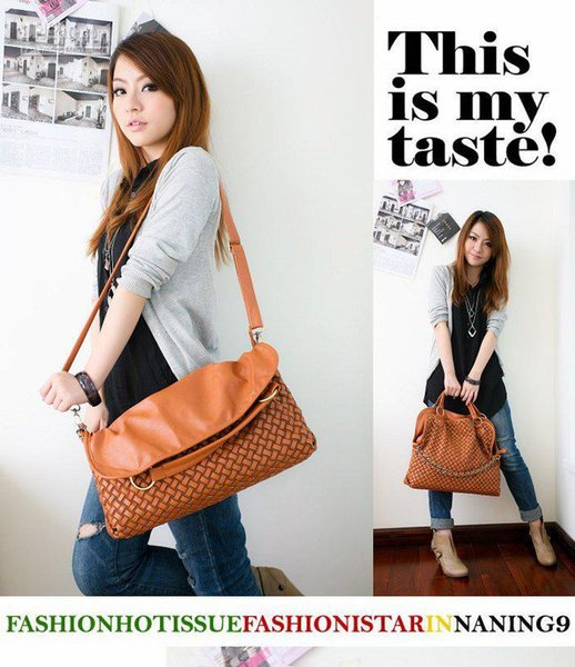 Special Offer! Summer new Hand woven chain shoulder bag /Three ways handbag Four colors Free Sh
