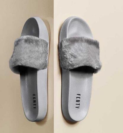 2019 Leadcat Fenty Rihanna Zapatos para mujer Zapatillas Sandalias de interior Zapatillas de moda para niñas Rosa Negro Gris Diapositivas de piel Zapatos de mujer Star SWith