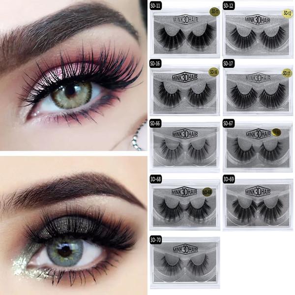 In Stock! 3D Eyelash 17 styles Selling 1pair/lot 100% Real Siberian 3D Full Strip False Eyelash Long Individual Eyelashes Lashes