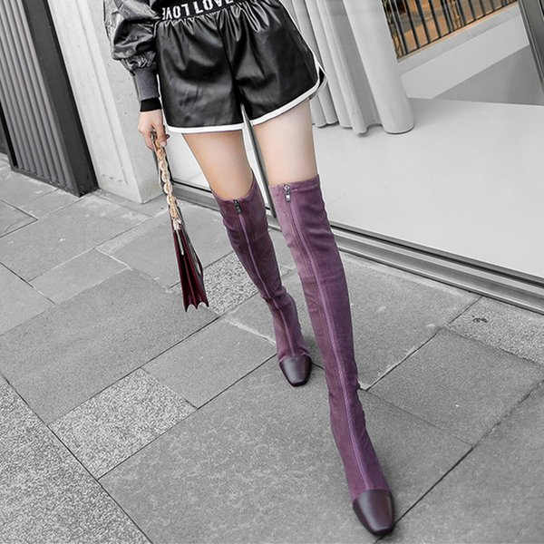 Zip Lässige Metall Dekoration Over-the-Knie-Stiefel hoch für Frauen Platz Heel High Mischfarben Herbst-Winter-Aufladungen Schuhe mit Rundspitze
