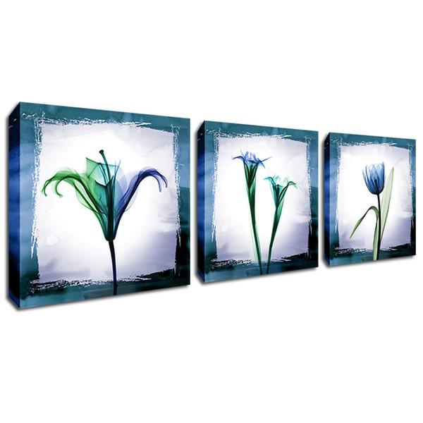 Étiré Cadre Fleur Mur Art Toile Peinture Abstrait Transparent Bleu Fleur Affiche Imprimer Décor Photo pour Salon 3PCS