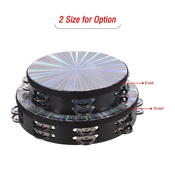 best selling 8 Inch Wooden Radiant Tambourine Handbell Hand Drum with Double Row Jingles Reflective Drum Head Percussion Instrument