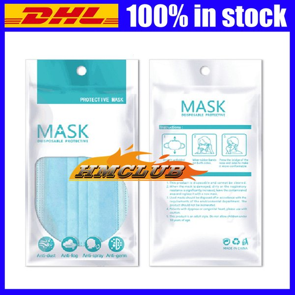 top popular In stock OPP Bags Zipper Plastic Retail packaging bag For Disposable Protective Face mask bag Dustproof package bag Anti bacteria Masks bags 2021
