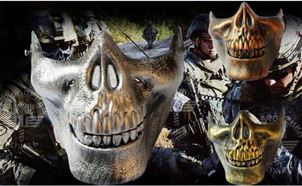 Máscaras de Halloween Guerreros de esqueleto de media cara Cráneo protector Máscara de terror Mascarada de Halloween Juegos de CS Máscaras