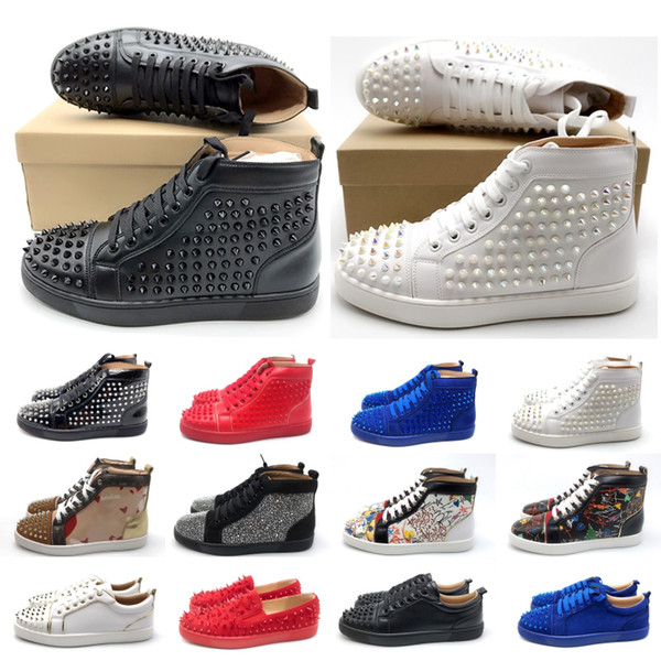 Luxury Designer Red Bottom Studded Spikes Sneakers men women Casual shoes black Party Lovers Rhinestones Leather glitter Girls Boots
