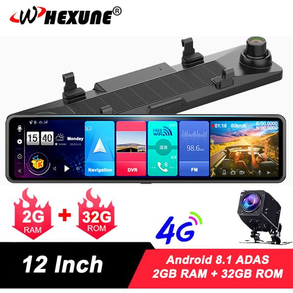 "whexune 12"" car rearview mirror 4g android 8.1 dash cam gps navigation adas fhd 1080p car video camera recorder dvr remote view"