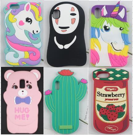 3D Cute Cartoon Horse Bear strawberry Cactus Soft Silicone Cover Case for iPhone XS Max XR X 7 8 6S Plus black widow