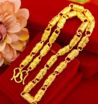 Men glitting fashion jewelry Vietnamese gold imitation necklace for husband boyfriend birthday festival gift