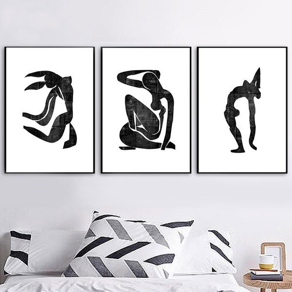 Abstract Minimalist Body Canvas Poster Black And White Geometric Nordic Decoration Home Posters Wall Art Picture For Living Room