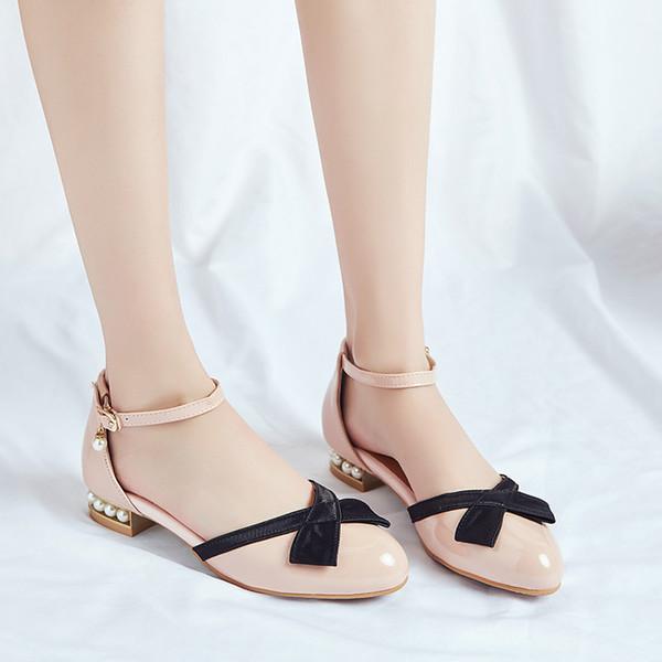 Chaussures Femme YMECHIC Blanc Rose Noir Noeud Grandes Tailles Perles Bas Talons Chunky Bowtie Lolita Ankle Strap Pumps Chaussures de soirée