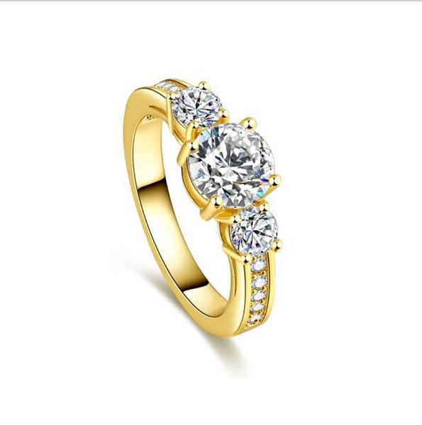 Pedra de luxo Banhado A Ouro Anel Mulheres Menina Elegante Rosa de Ouro de Cristal De Ouro Presente de Casamento Jóias Anéis de Dedo