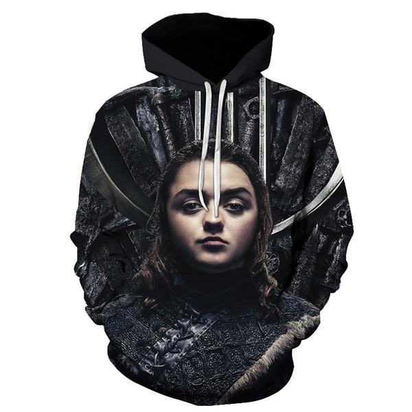 Evi Stark / Targaryen / Lannister Raglan Hoodies Erkekler 2019 Gece Kral Ejderha Ceketler erkek Tişörtü 3D baskı