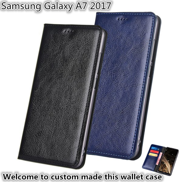 QX13 Gneuine Leather Wallet Phone Bag With Card Holders For Samsung Galaxy A7 2017 Phone Case Kickstand For Samsung Galaxy A7 2017 Case