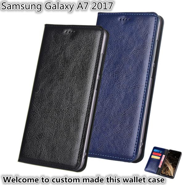 QX13 Кожаный Бумажник Кошелек с Держателями для Карт Для Samsung Galaxy A7 2017 Чехол для телефона Подставка Для Samsung Galaxy A7 2017 Чехол