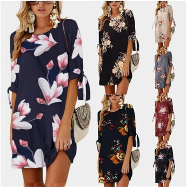 Summer Explosion Women's Dress Fashion Print 1/2 Sleeve Round Neck Casual Dress Female Asian Size S-5XL