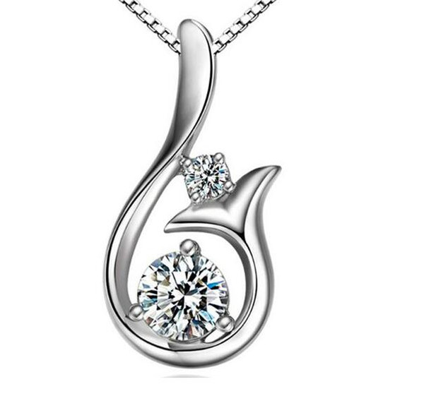 Top Grade Diamond Pendant Necklace Silver Plate Cubic Zircon Little Mermaid Pendant Necklace For Wedding Party Women Jewelry Friendship Gift