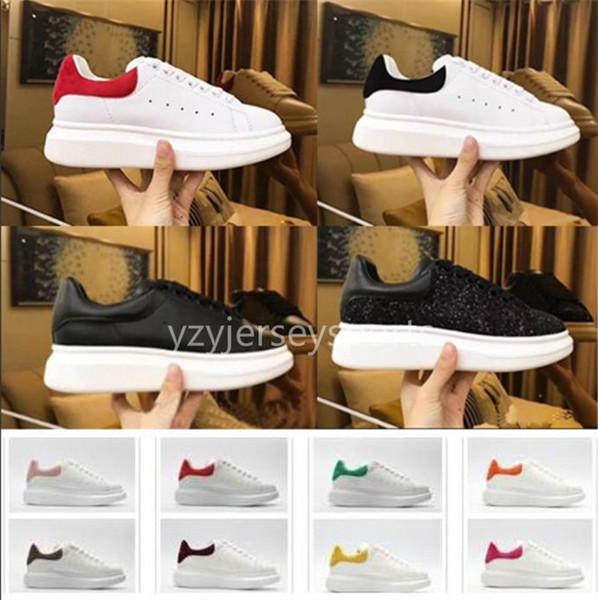 2019 Alexander McQueen Moda Promosyon Rahat Ayakkabılar Daireler Kalın Sole Deri Yürüyüş Ayakkabıları Açık Havada Günlük Elbise Parti Sneakers
