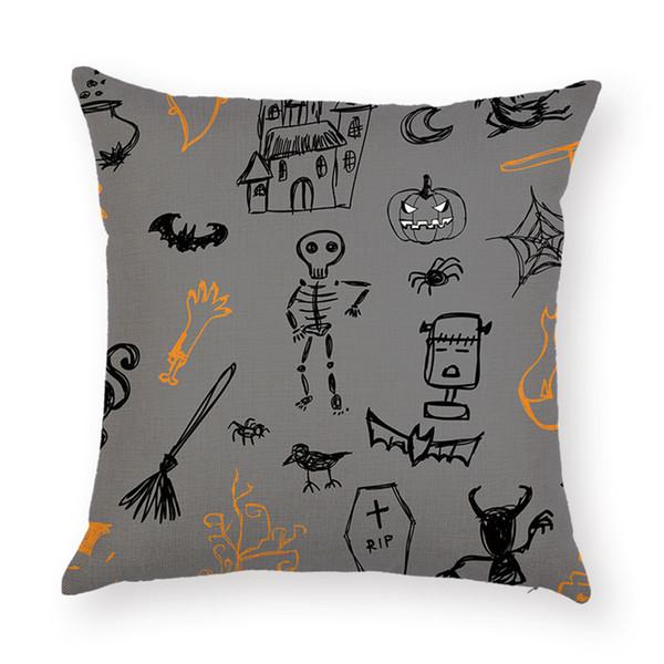 Cotton Linen Throw Pillow Case Sofa Car Cushion Cover Pumpkin Square Pillowcase for Halloween Home Decorative Pillow Cover