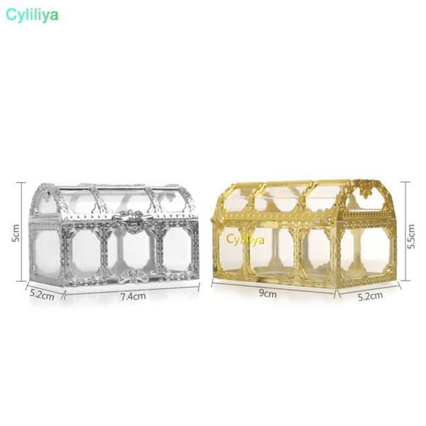 Yaratıcı hediye kutusu küçük mücevher depolama tarzı altın gümüş plastik şeker kutusu hazine sandığı şekilli düğün favor hediye kutusu