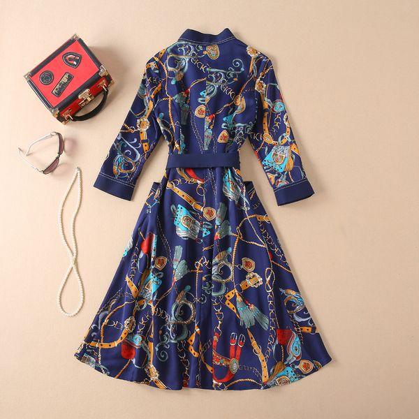 35 2019 Spring Summer Maxi Dresses V Neck A Line Knee length 3/4 Sleeve Empire Brand Same Style Runway Dress AS