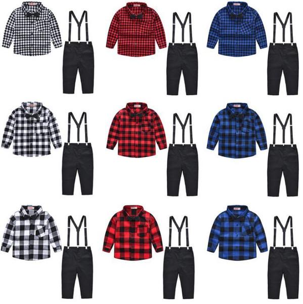9 Stilleri Erkek Bebek Giysileri Set Çocuklar Kısa Kollu Izgara Gömlek Papyon + Askı Pantolon Giyim Seti Ile 2 adet / takım CCA11550 6 takım