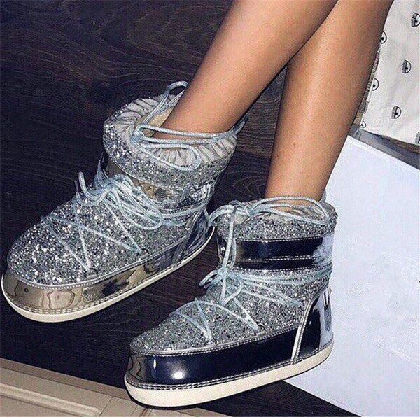 Zapato de invierno lentejuelas de oro del brillo de la nieve Botas Ins caliente de las mujeres con la piel de imitación de pelo de mujer Barco Bottine Femme Botine Luna envío