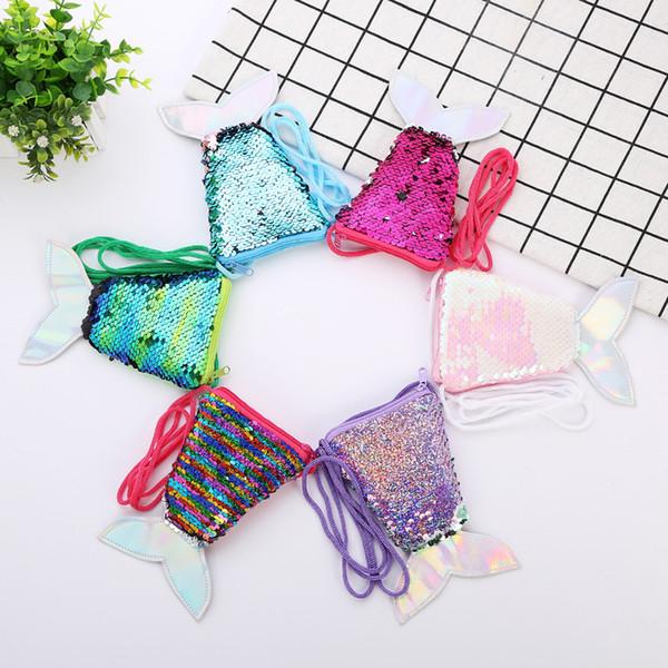 6styles sirène paillettes porte-monnaie avec lanière sirène forme de poisson queue sac pochette portable Glittler portefeuille fille sac de stockage FFA1799