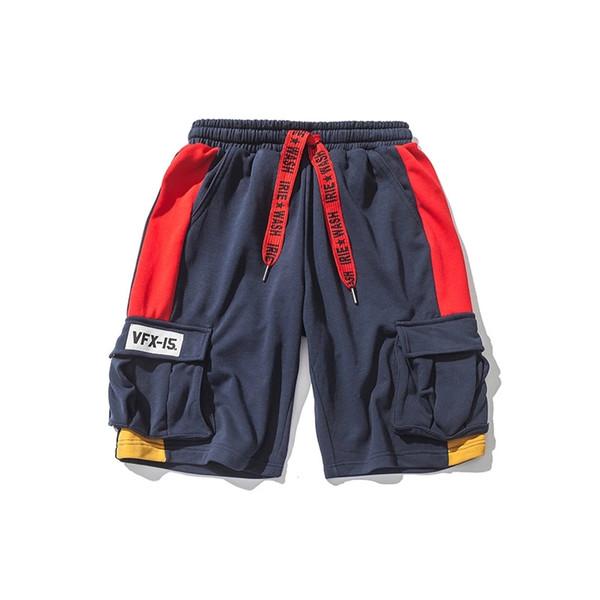 Moda para hombre Diseñador Trajes para hombre Diseñador reflectante multibolsillo pantalones cortos sueltos Mens Hip Hop Pantalones deportivos Negro Naranja 2 colores