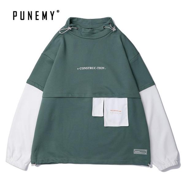 Homens Hoodies Hoody Harajuku japonesa Streetwear Patchwork Vintage Hip Hop Oversize algodão moletom bordado com capuz por Hoodie do homem